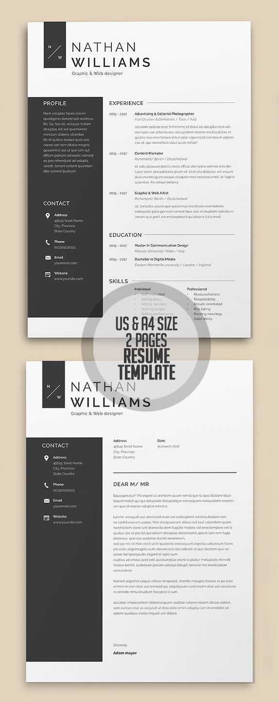A4/US Letter 2 Page Resume Template