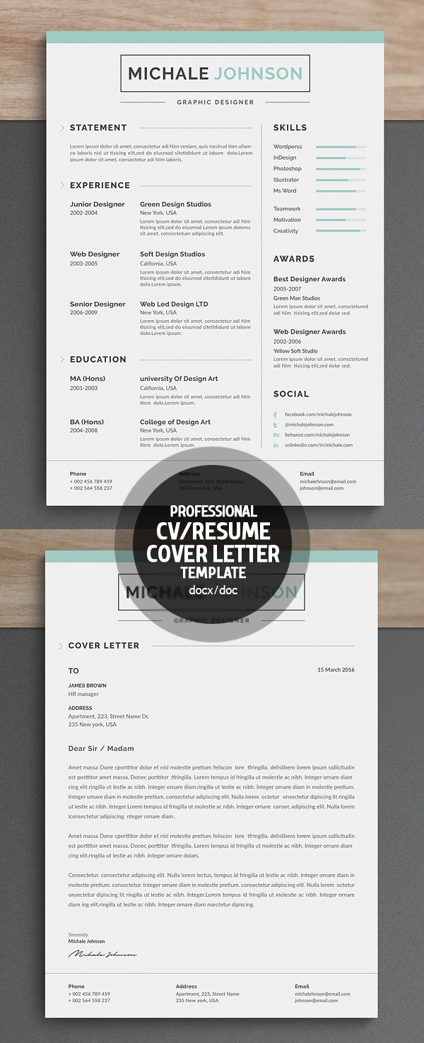 Professional & Clean Resume/CV Word Template