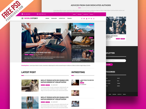 Free Multipurpose Magazine Blog Web Template PSD