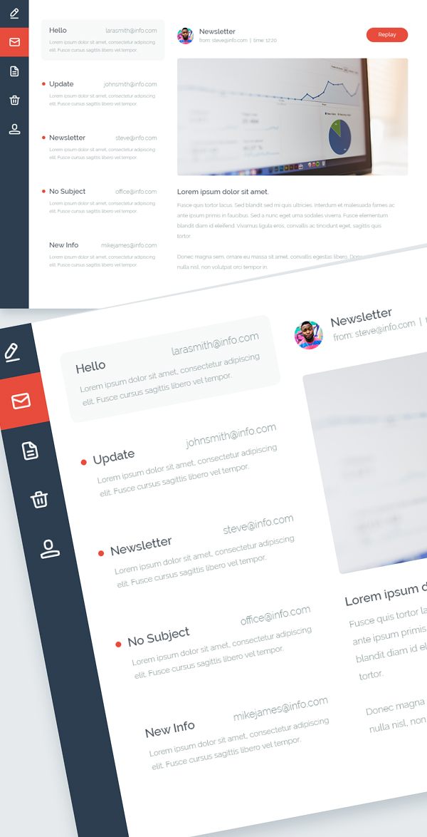 Free Email Inbox UI PSD Design