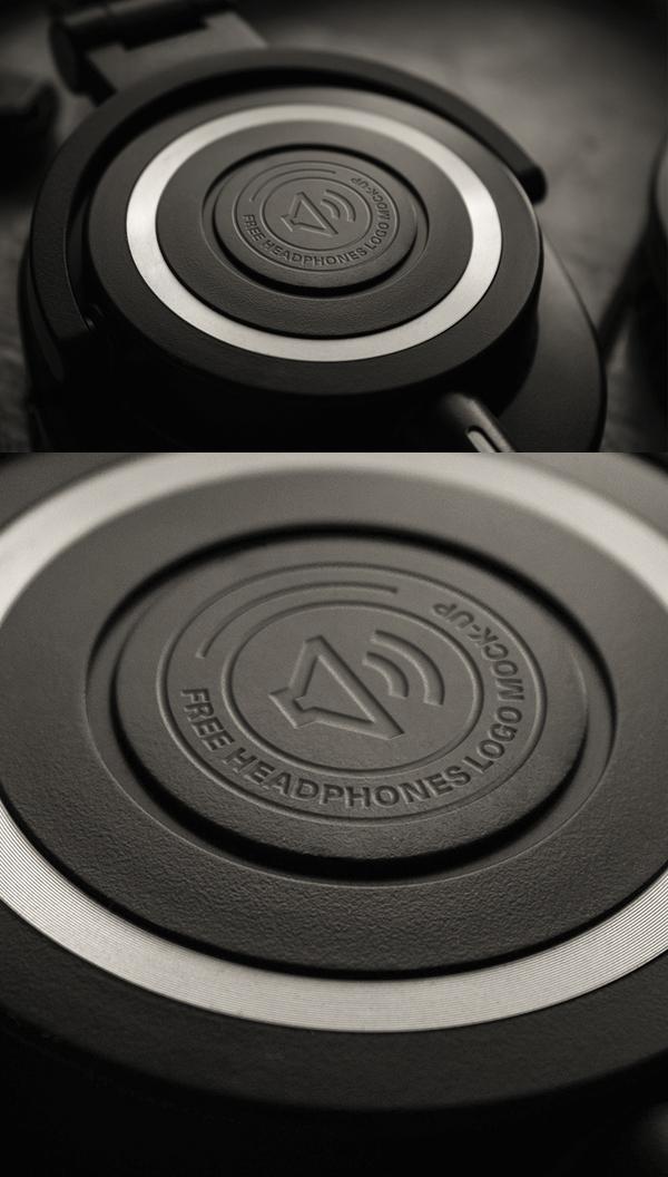 Free Headphones Logo MockUp PSD