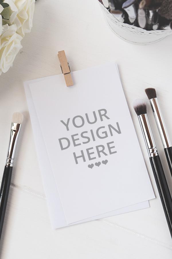 Free Makeup Brushes & card Mockup