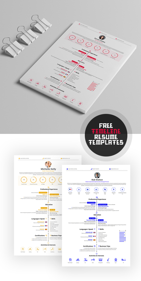 Beautiful Free Timelime Resume Template