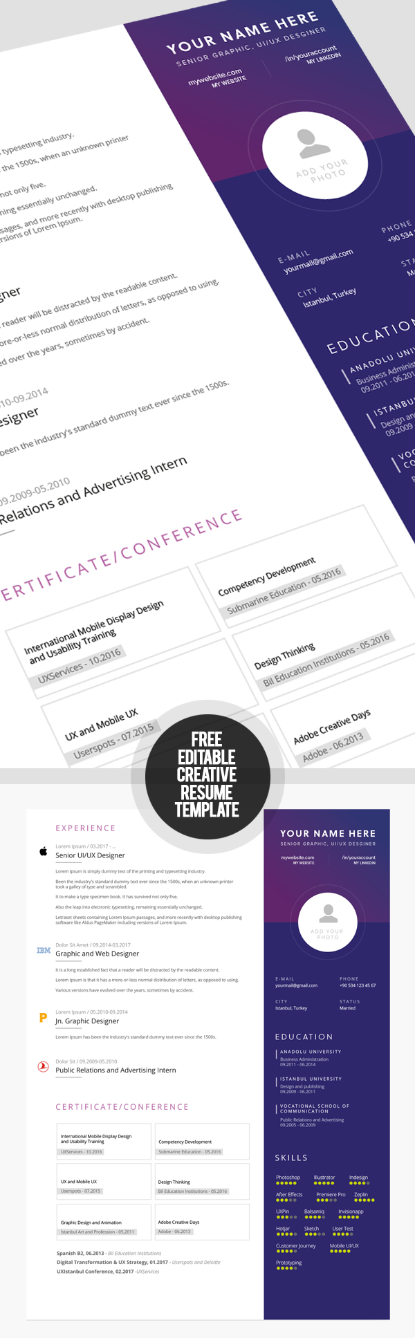 Artistic resume templates free