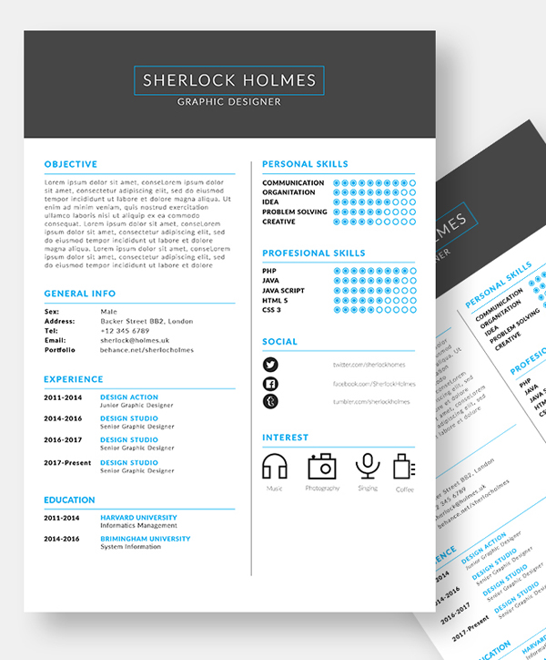 Free PSD Clean Resume Template
