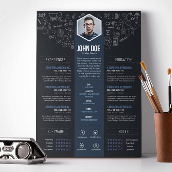 Free PSD : Creative Designer Resume Template PSD