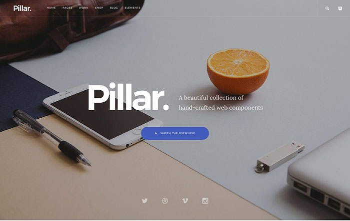 pillar bootstrap themes 2017