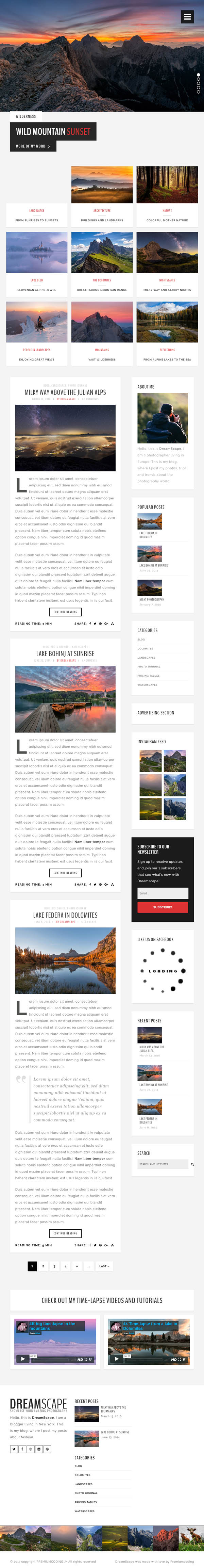 Dreamscape Photography - A Responsive WordPress Photography Blog Theme
