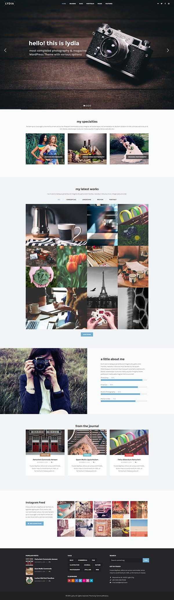 Lydia – Photography & Magazine WordPress Theme
