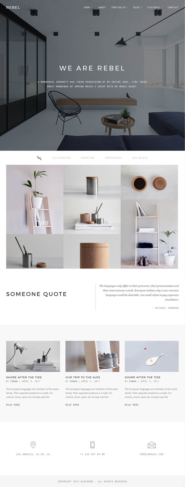 Rebel – Minimal Portfolio WordPress Theme