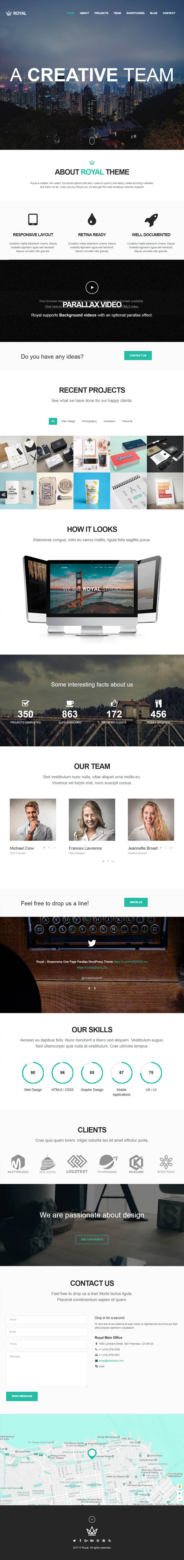 Royal – Responsive One Page Parallax WordPress Theme