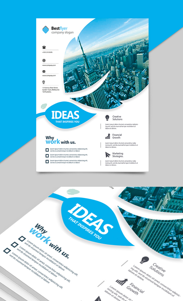 Corporate Flyer 5 Colors PSD Template