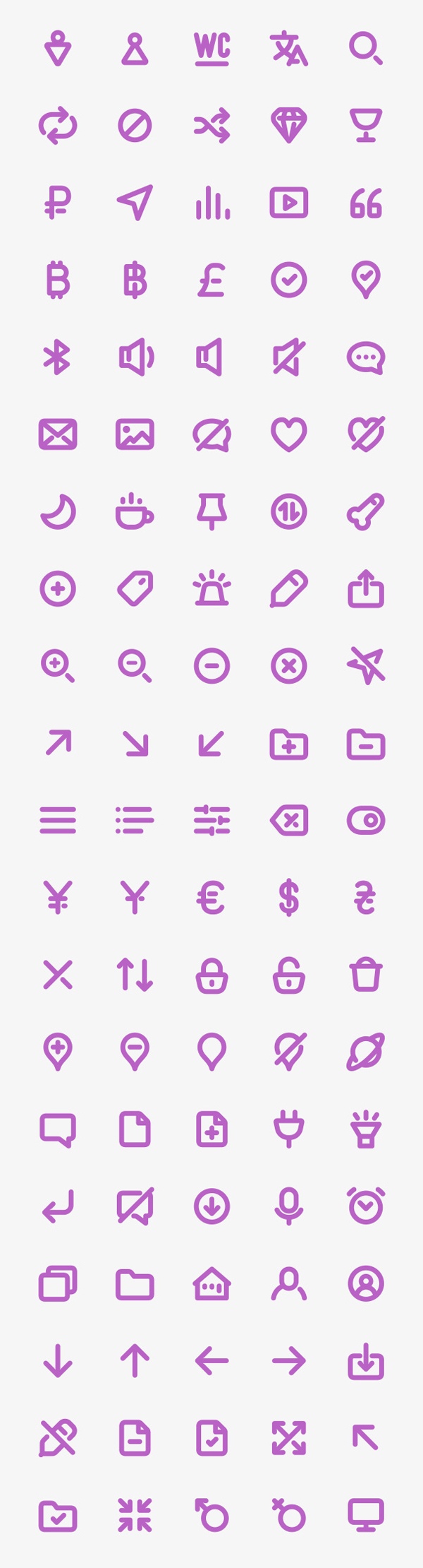Free Bold Purple Line Icons (100 Icons)