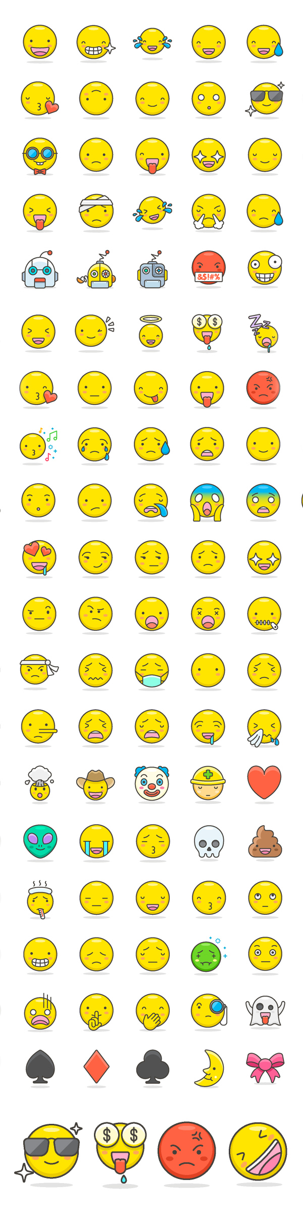 Free Cute Emoji Icons Set (100 Icons)