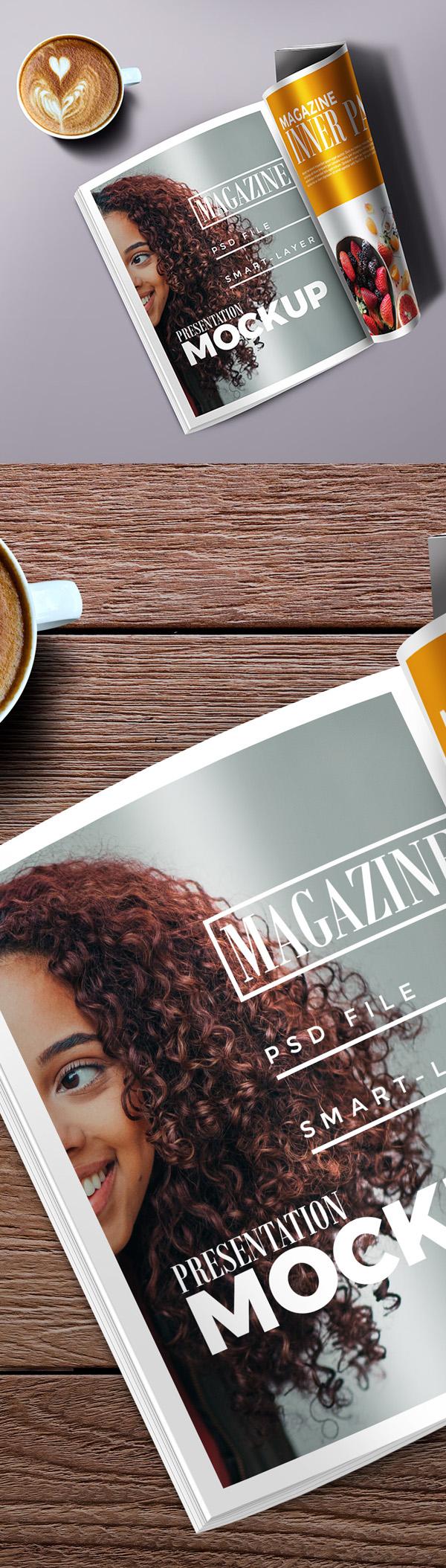 Free Hi-res Magazine Mockup PSD