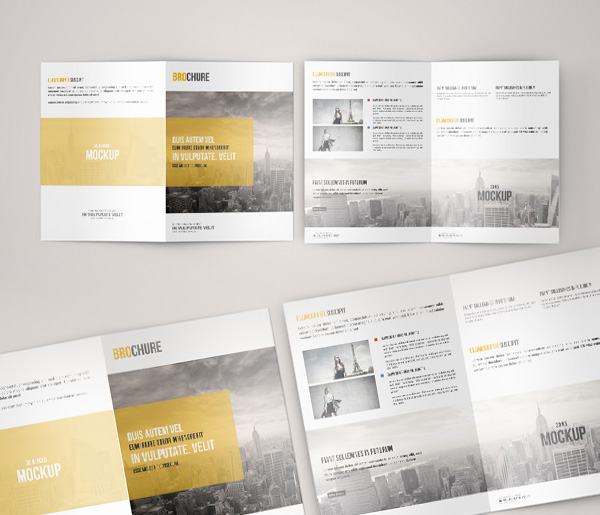 Free A5 Bi Fold Brochure Mock-Up