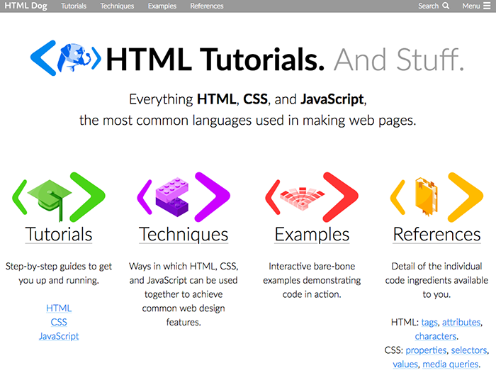 learn web development html dog