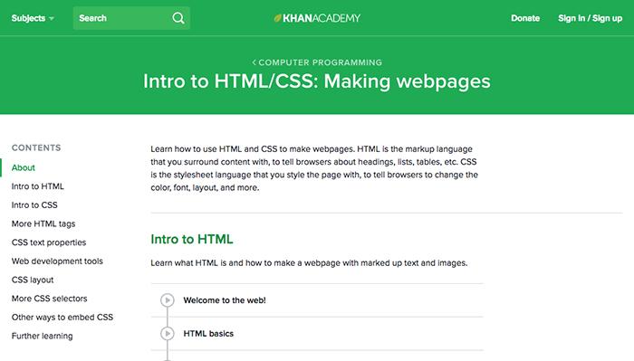 learn web development khan academy html css