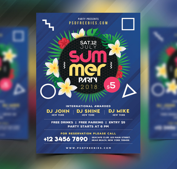 Free Summer Beach Party Flyer PSD Template