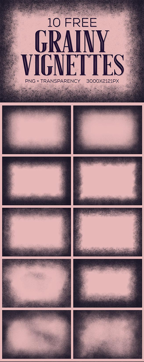 Free Grainy Vignette Textures with PNG Transparency