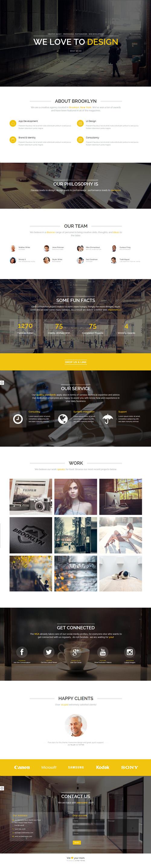 Brooklyn - Creative Portfolio Page HTML Template