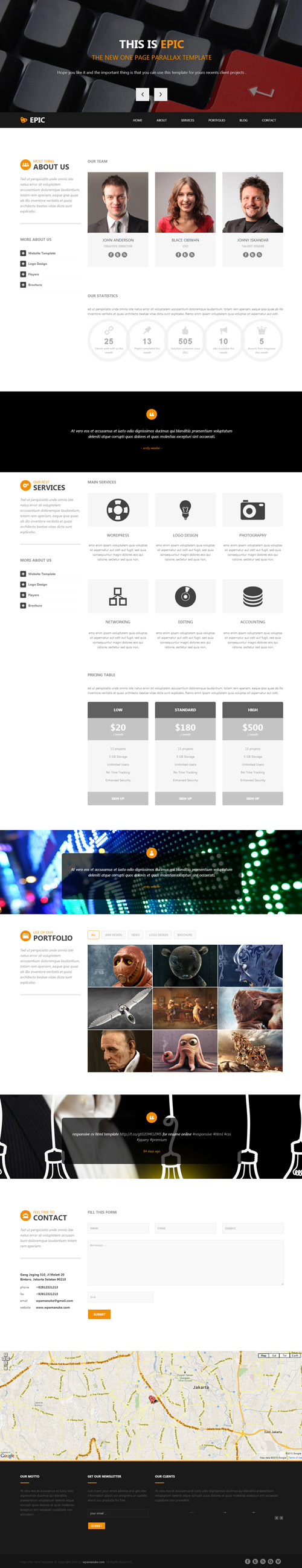 Epic One Page Parallax HTML Template