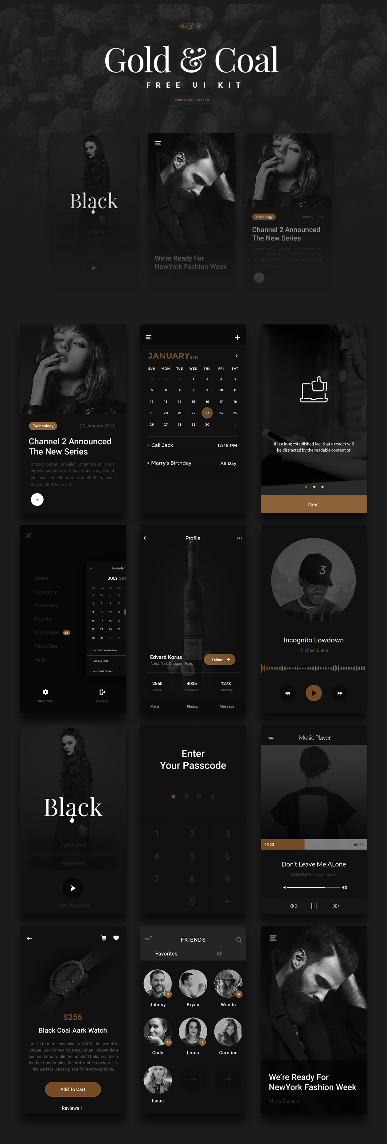 Luxury (Gold & Coal Color) UI Kit - Free Download