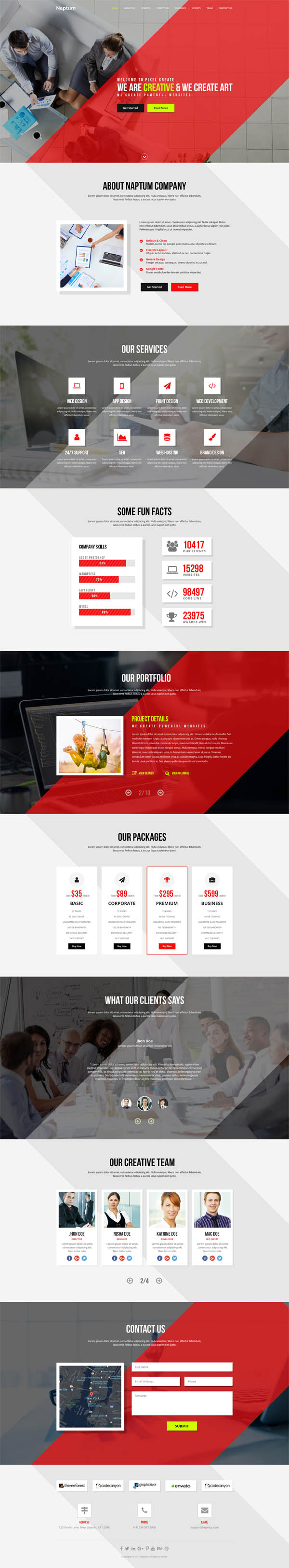 Naptum - One Page Parallax PSD Template