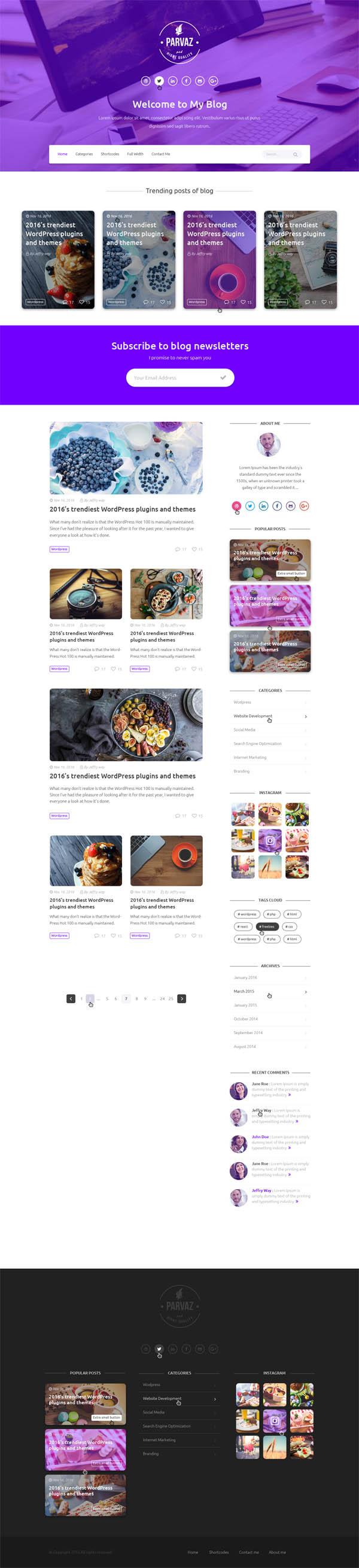 Parvaz - Personal Blogging PSD Template