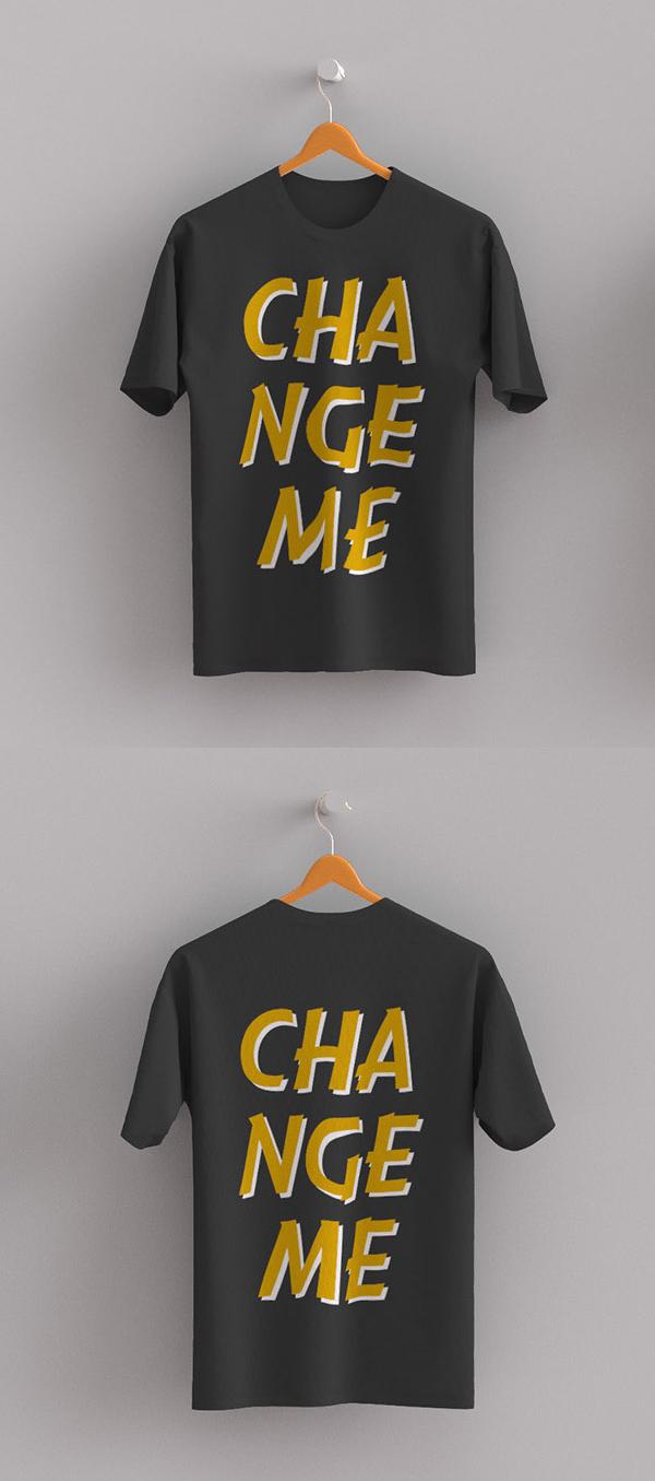 Free t shirt front back mockup psd