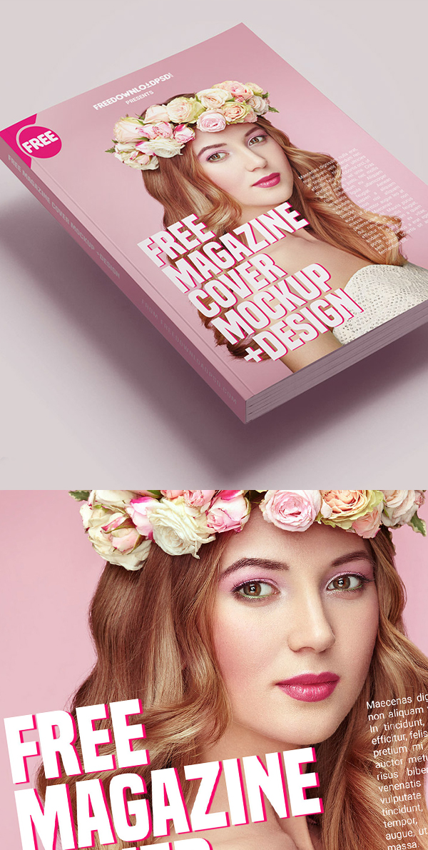 Free Magazine Cover Mockup Template Design