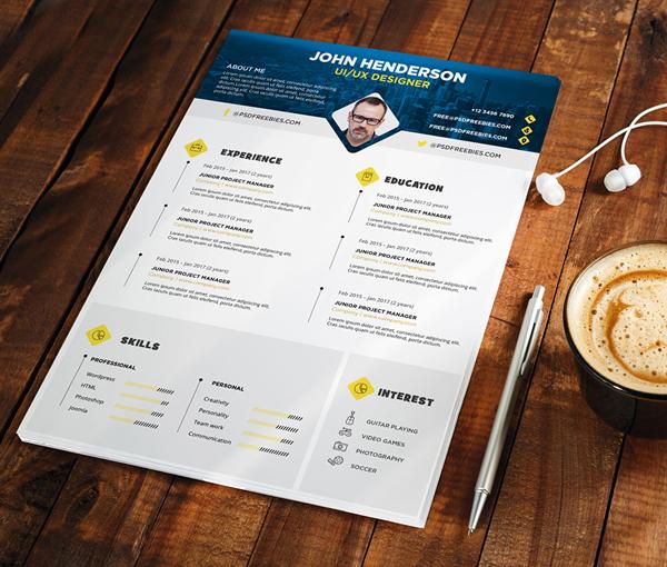 Free PSD : Professional Designer Resume CV Template PSD