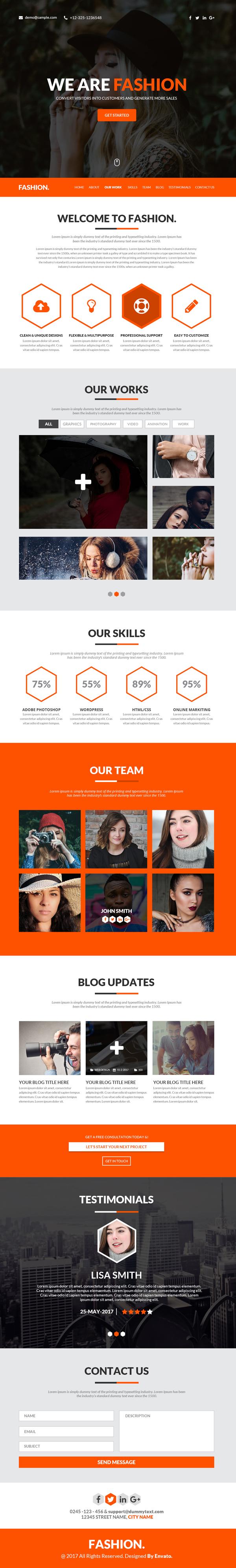 Fashion One Page Portfolio Template