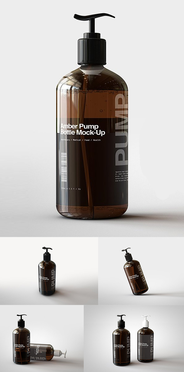 Amber Pump Bottle Mock-Up