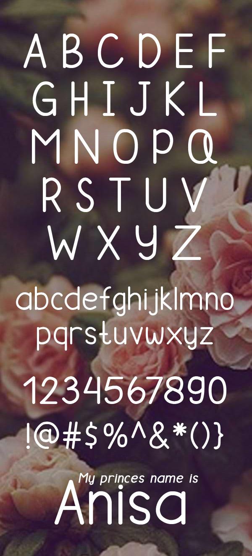 Anisa Sans Free Font Letters
