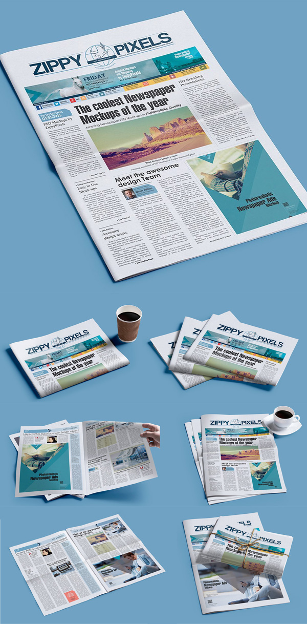 Newspaper Mockup PSD Mockup