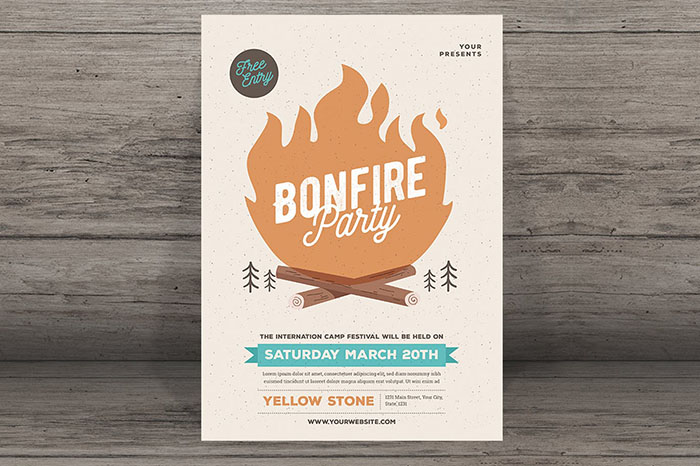 summer website themes bonfire invitation