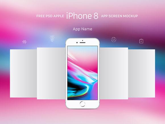Apple iPhone 8 App Screen Mockup PSD