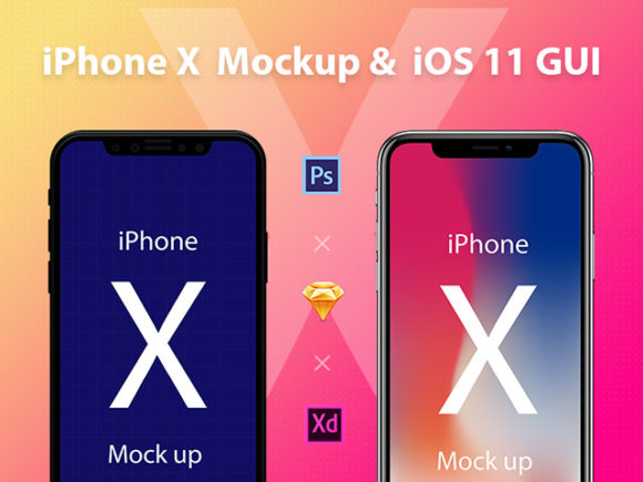 iPhone X Mockup & iOS 11 GUI