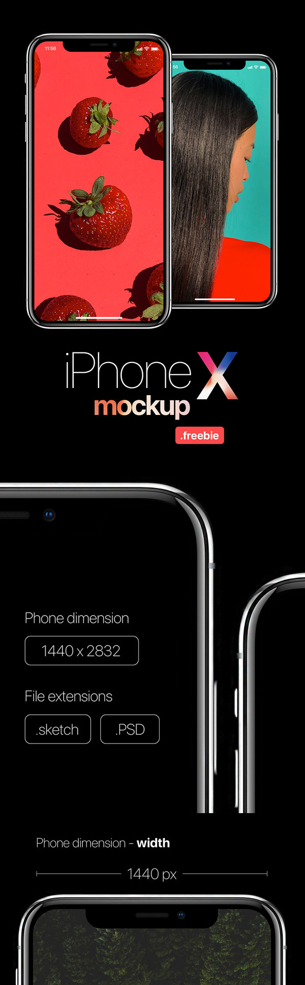 Free Download iPhone X PSD Mockups and Sketch - 5