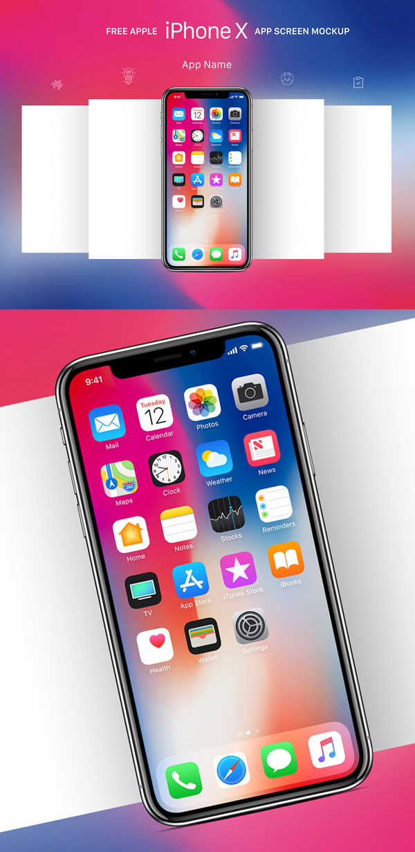 Free Download iPhone X PSD Mockups and Sketch - 7
