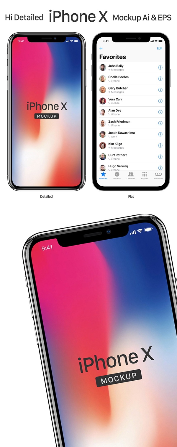 Free Download iPhone X PSD Mockups and Sketch - 9