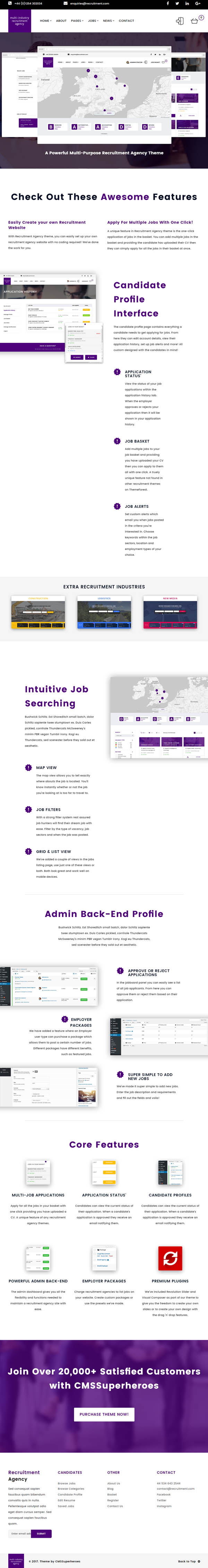 Recruitment Agency : Multi Industry | Responsive WordPress Theme