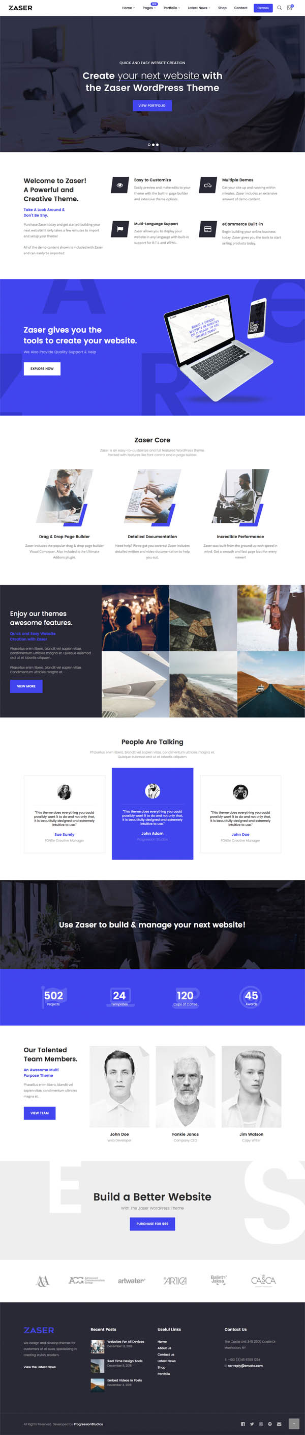 Zaser Pro | All-in-one WordPress Theme