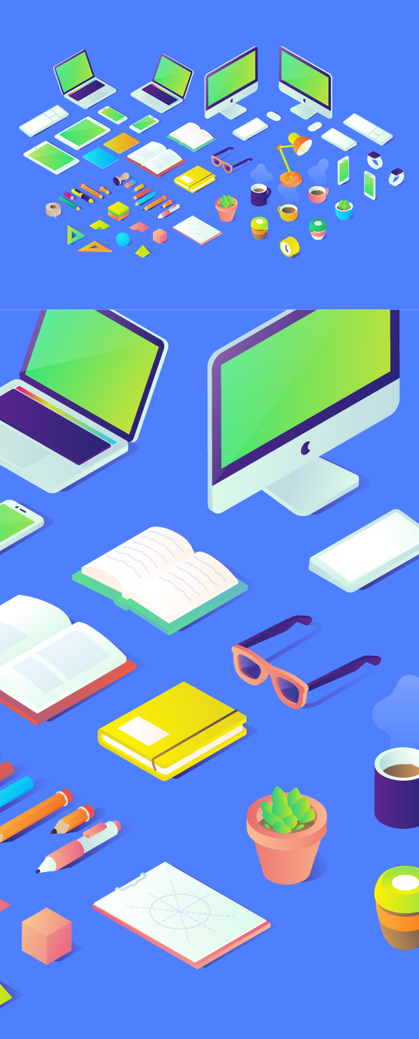 Free Isometric Vector Graphcis Illustrations