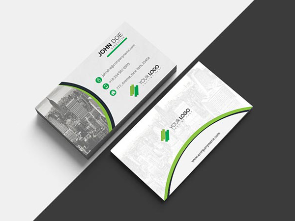 Free Green Color Vector Business Card