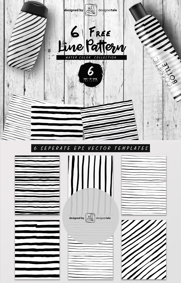 Free Hand-Made Line Pattern Vector Graphics Template