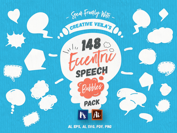Free Eccentric Speech Bubbles Vector Pack