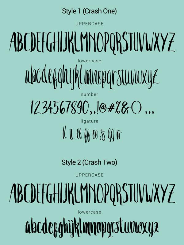 Crash One Free Font Letters