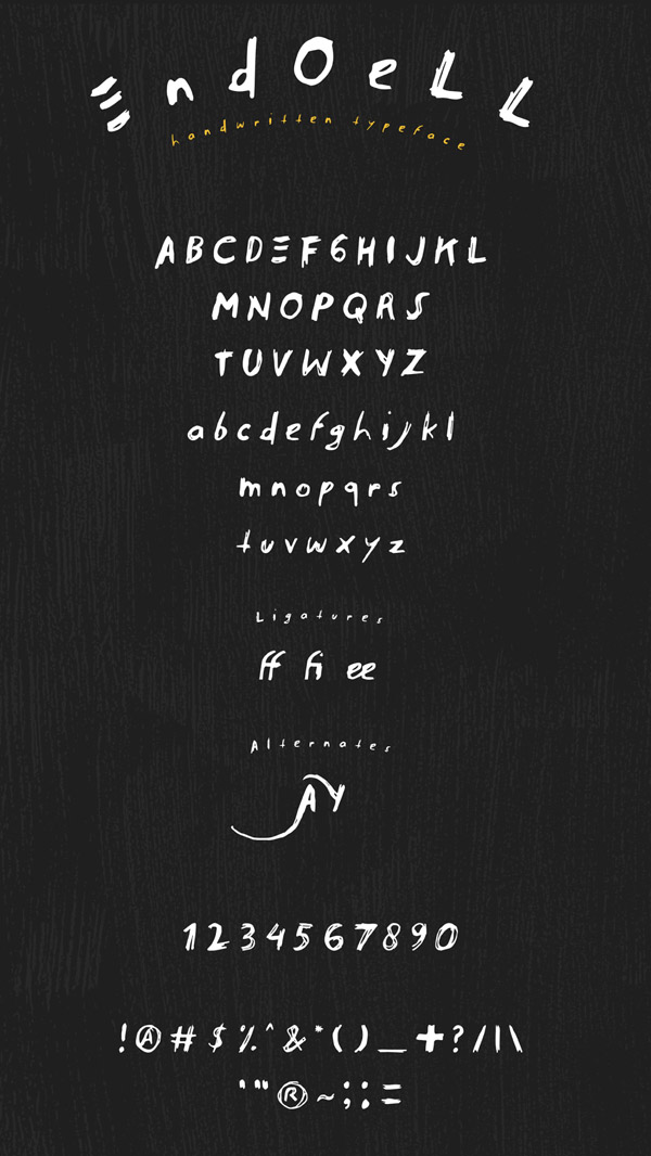 Endoell Free Font Letters